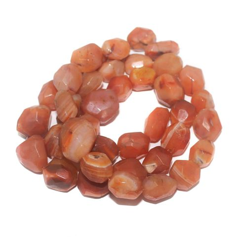Tumbled Faceted Carnelian Stone Beads 28-19 mm