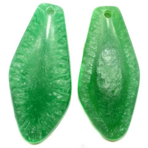 10 Resin Tilak Pendants Green 62x30 mm