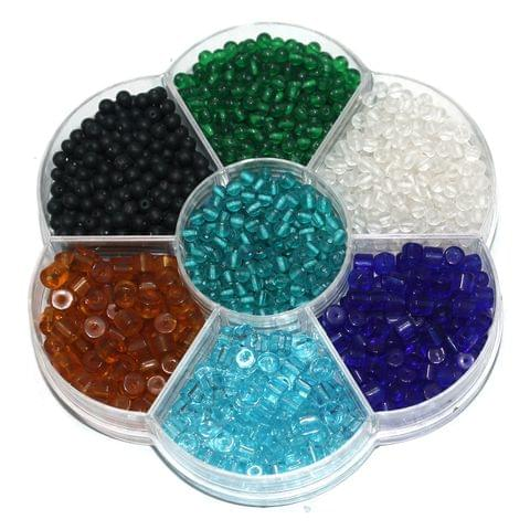 Round and Tyre Shaped Glass Beads DIY kit for Jewellery Making, Beading, Crafts Work and Embroidery (7 Colors) (Size:4 mm)