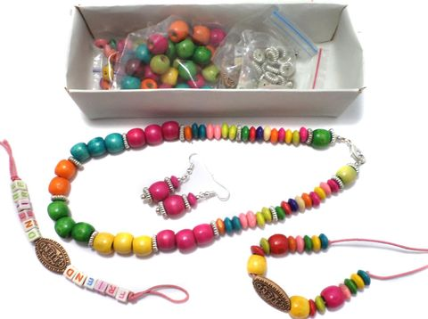 Kids Jewellery Making Wooden, Friends Beads and CCB Beads DIY Kit