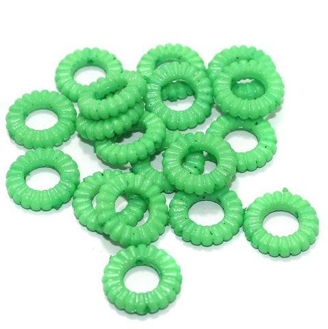 100 Gm Acrylic Ring Beads Green 17x4 mm