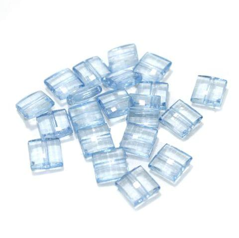 100 Gm Acrylic Crystal Faceted Flat Square Center Drill Beads Trans Sky Blue 10x5 mm