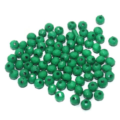 100 Gm Acrylic Crystal Faceted Roundell Beads Green 6x5 mm