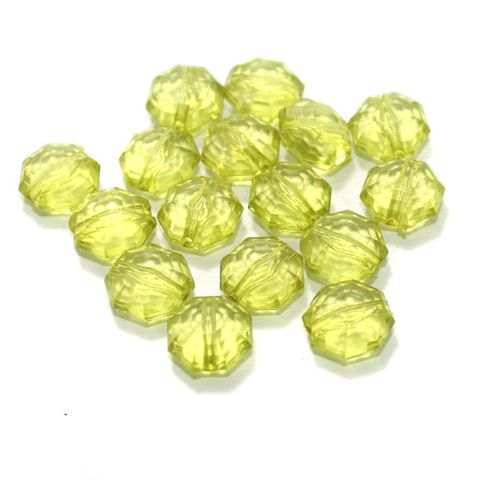 100 Gm Acrylic Crystal Faceted Octagon Beads Trans Green 13x7 mm