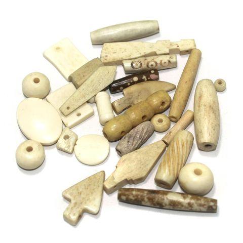 100 Pcs. Bone Mix Beads Off White 64-12 mm