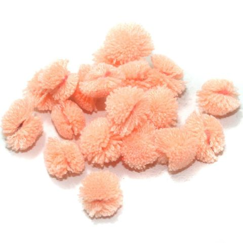 200 Pcs. Pom Pom Round Beads Peach 15 mm