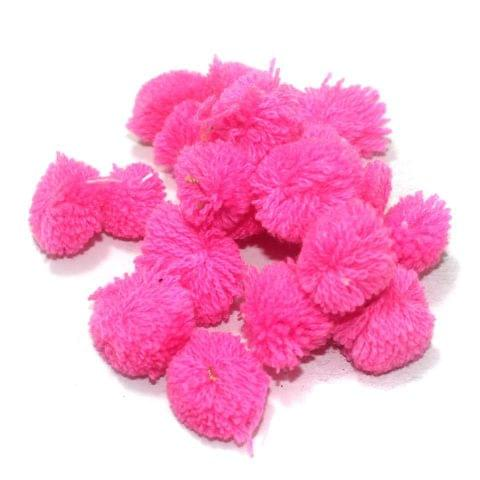 200 Pcs. Pom Pom Round Beads Pink 15 mm