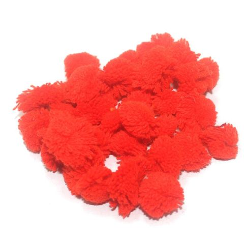 200 Pcs. Pom Pom Round Beads Red 15 mm
