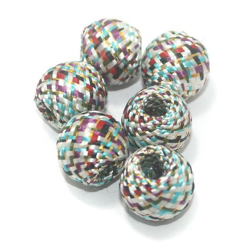 25 Pcs Crochet Round Beads Multi Color 19x17 mm