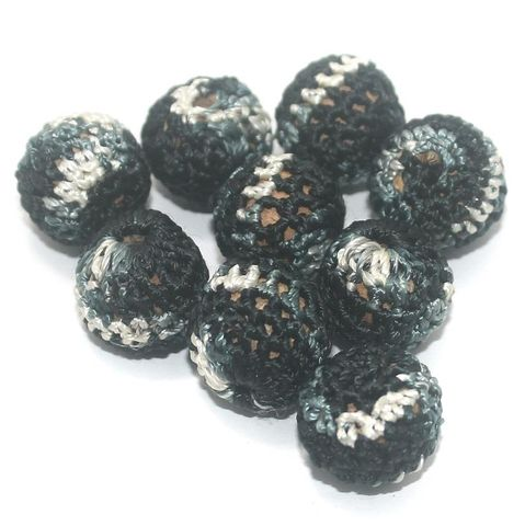 25 Pcs Crochet Round Beads Black 16x14 mm
