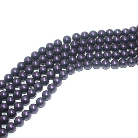 Shell Pearl Beads Indigo, Size 10mm, Pack Of 5 Strings