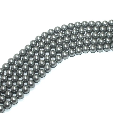 Shell Pearl Beads Gray, Size 10mm, Pack Of 5 Strings