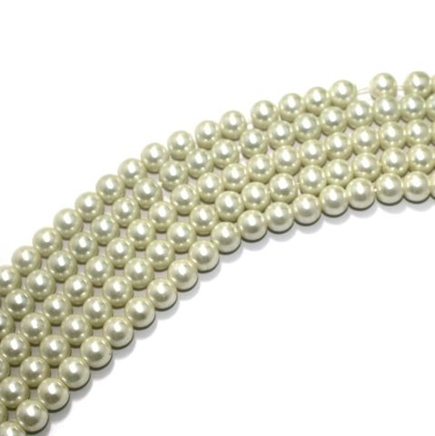 Shell Pearl Beads White, Size 10mm, Pack Of 5 Strings