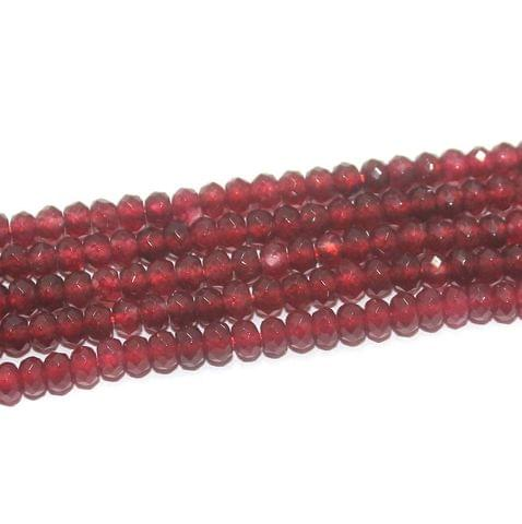 Faceted Onyx Stone Tyre Beads 3x4 mm Red, Pack Of 5 Strings