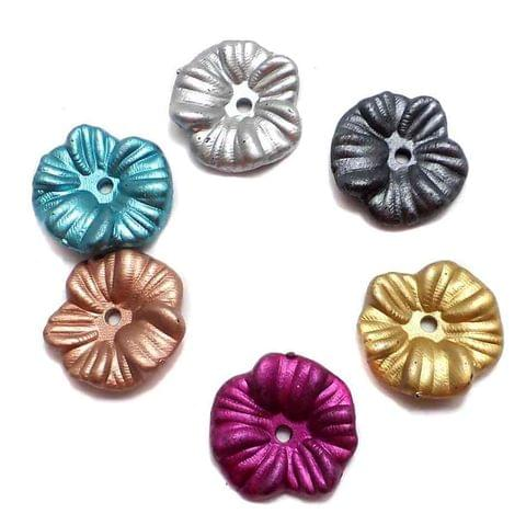 200 Gm Acrylic Flower Beads Assorted 15mm