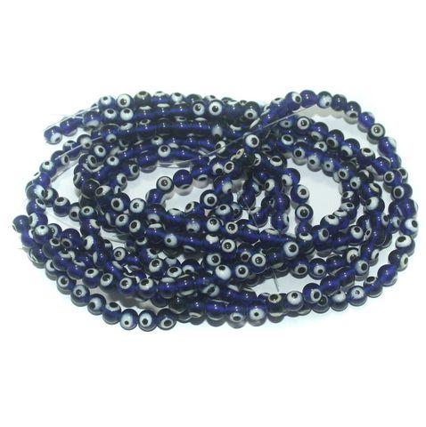 5 Strings Glass Evil Eye Round Beads Blue 6 mm