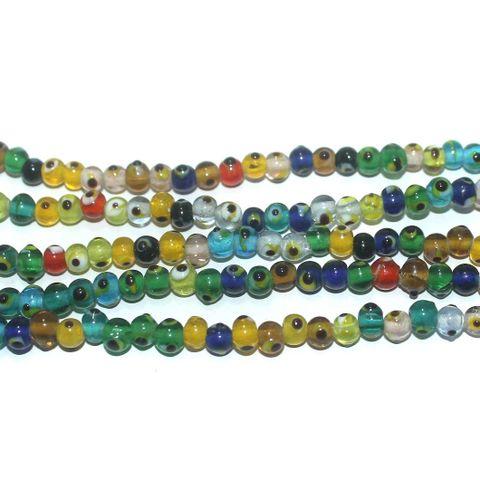5 Strings Glass Evil Eye Round Beads Multicolor 5 mm