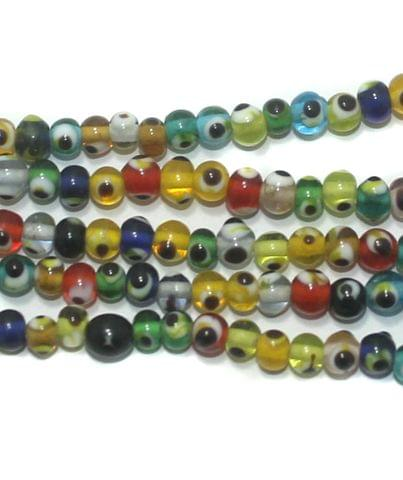 5 Strings Glass Evil Eye Round Beads Multi Color 4 mm