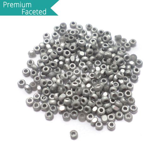 500 Gm Faceted Seed Beads Opaque Grey 11/0 (2mm)
