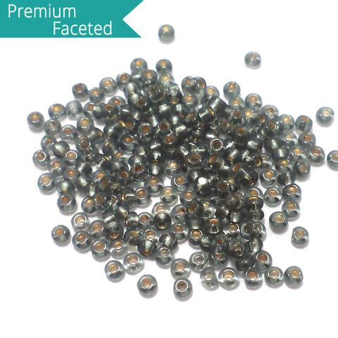500 Gm Faceted Seed Beads Inside Color Grey 11/0 (2mm)