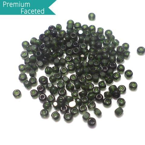 500 Gm Faceted Seed Beads Trans Green 11/0 (2mm)