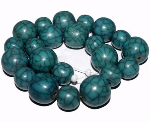 25 Resin Beads Assorted Shapes Teal 10-20 mm