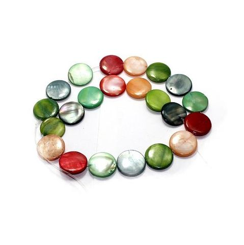 20+ Shell Disc Beads Assorted 18mm
