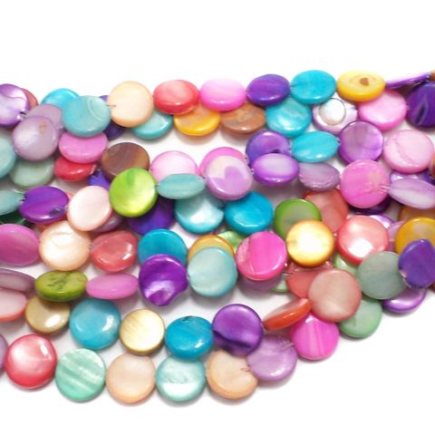 30+ Shell Disc Beads Assorted 10mm
