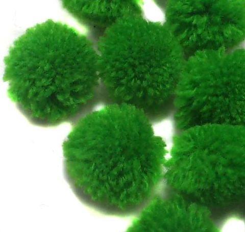 100 Pom Pom Round Beads Green 15 mm