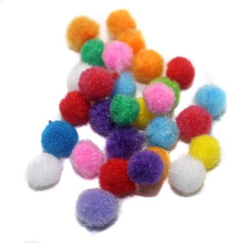 100 Pom Pom Round Beads Assorted 6mm