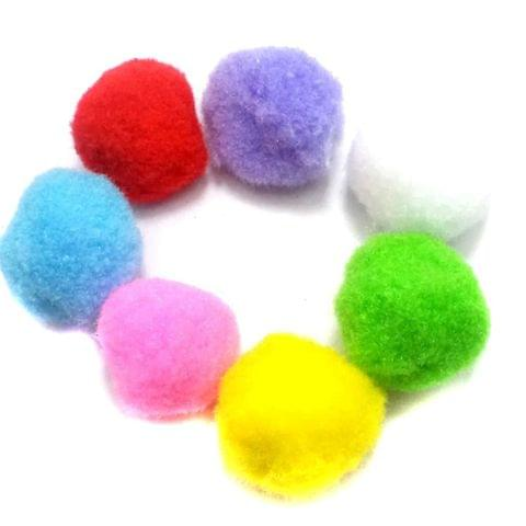50 Pom Pom Beads Assorted 30 mm
