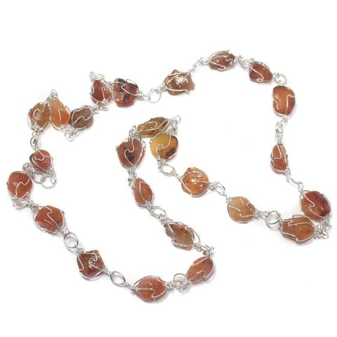 1 String Red Carnelian Stone Chain 18 Inch