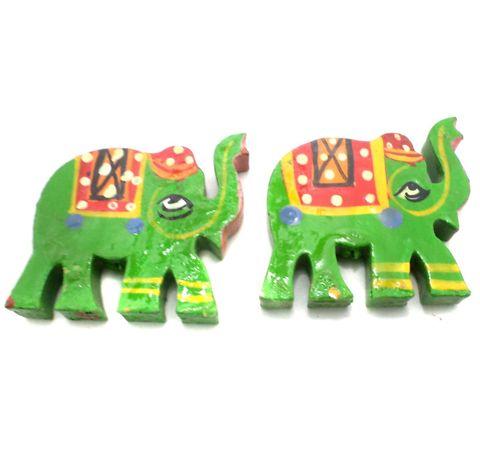 25 Pcs. Wooden Elephant Beads Parrot Green 1.5x1.25 Inch