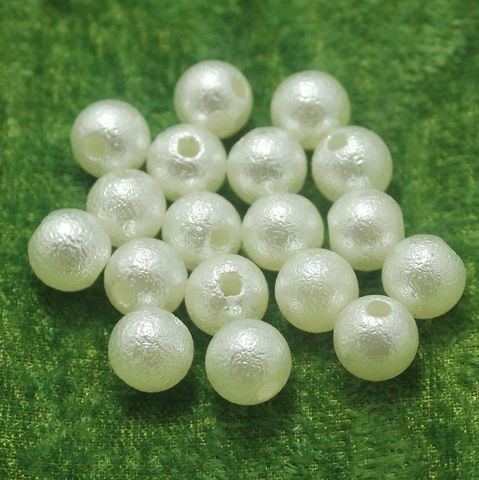 100 Gm Acrylic Pearl Round Beads Off White 10 mm