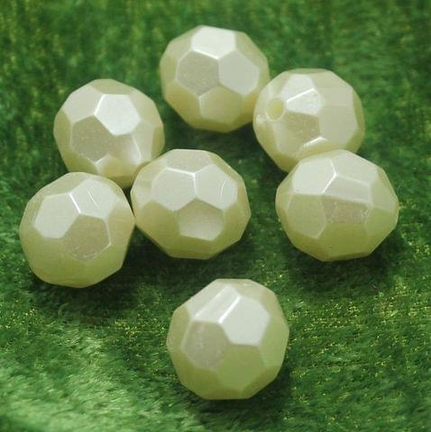 100 Gm Acrylic Pearl Football Beads Off White 14 mm