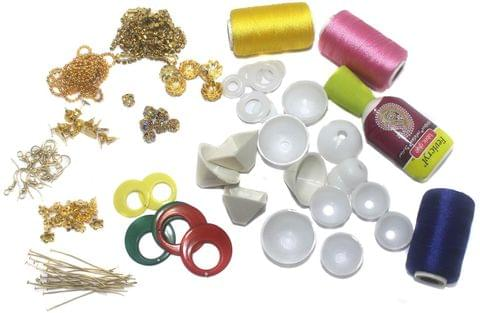 Silk Thread Jhumka & Earring Making Kit With all the required Jewelry Findings