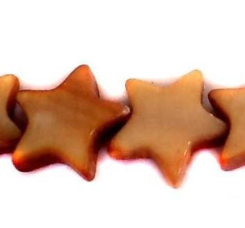 40 Shell Star Beads Brown 10mm