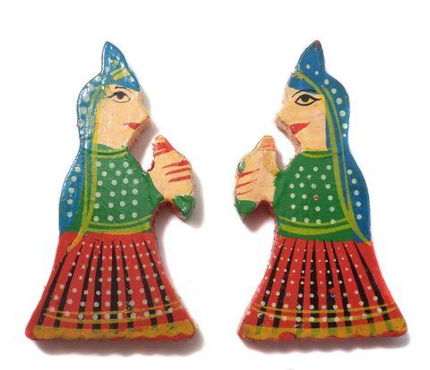 25 Pcs. Wooden Women Beads Red 3x1.5 Inch