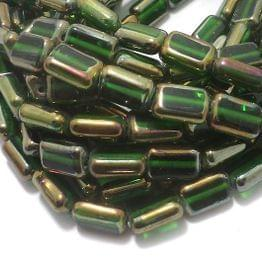 5 Strings Window Metallic Lining Flat Rectangle Beads Green 12x9 mm