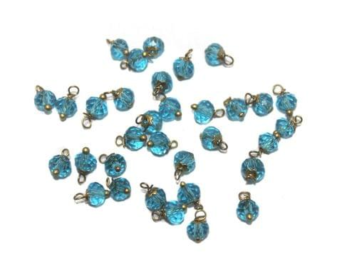 200 Faceted Loreal Beads Trans Turquoise 6 mm