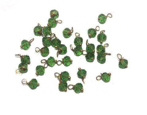 200 Faceted Loreal Beads Trans Green 6 mm