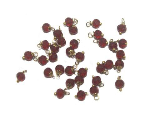 200 Faceted Loreal Beads Trans Dark Red 6 mm