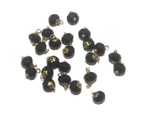 200 Faceted Loreal Beads Opaque Black 8 mm
