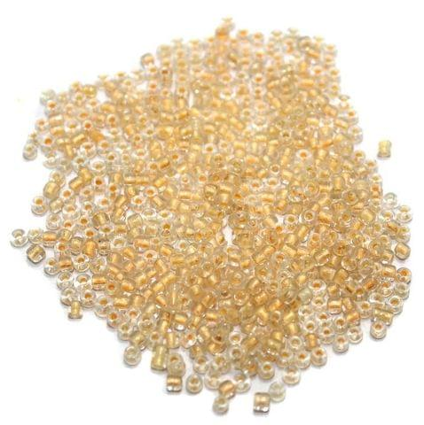 Inside Color Seed Beads Peach (100 Gm), Size 11/0