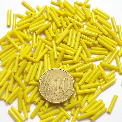 Seed Bugles Beads Dark Yellow (100 Gm), Size 11/0