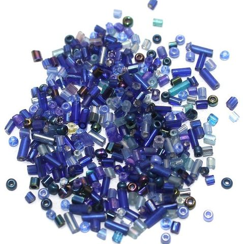 Seed Beads Blue Assorted (100 Gm), Size 11/0