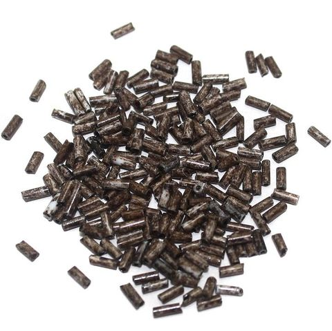 Seed Bugles Beads Marble Brown (100 Gm), Size 11/0