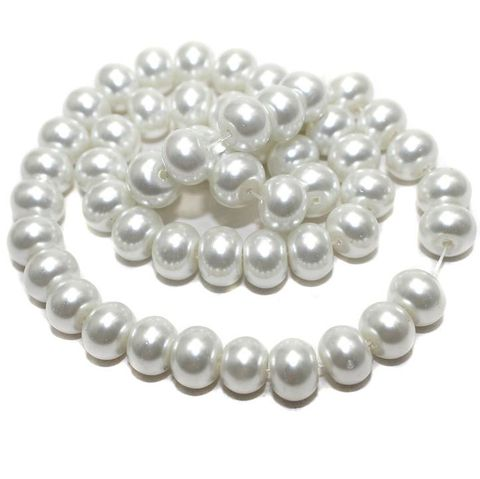 45+ Glass Pearl Beads RONDELLE White 10mm