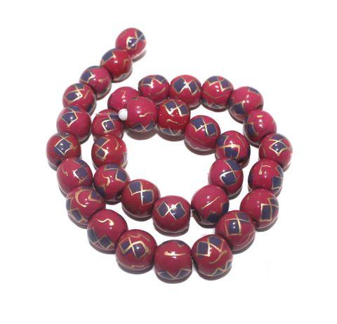 35+ Hand Printed Wooden Round Beads Magenta 12mm