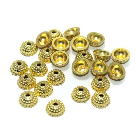 500 Pcs. Silk Thread Jewellery Making Acrylic Bead Caps Golden, Size 10x5 mm
